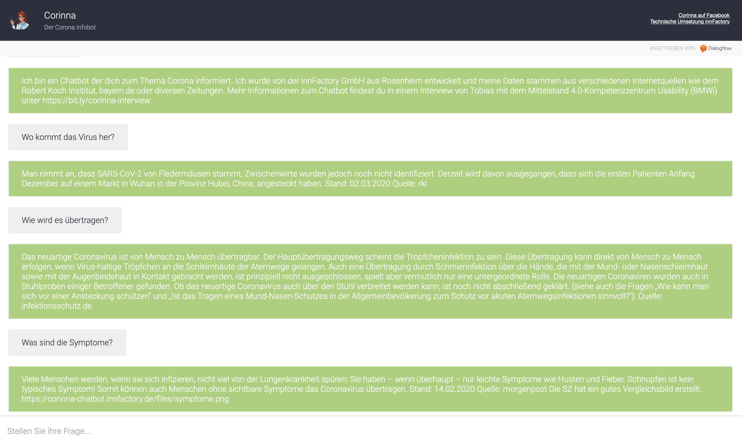Info-Bot für einfache Fragen rund um das Thema Corona