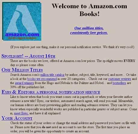 Amazon-Webseite 1994
